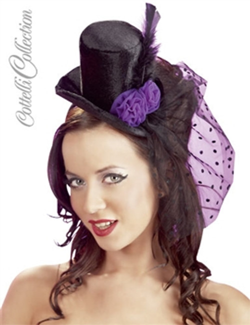 Velvet hat trimmed with tulle, feathers and textile roses, fixed onto a hairband. Black/purple.