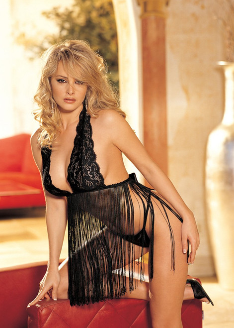 STRETCH LACE AND FRINGE BABYDOLL