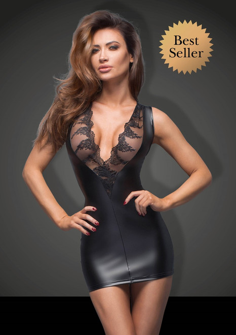Powerwetlook minidress with lace cleavage