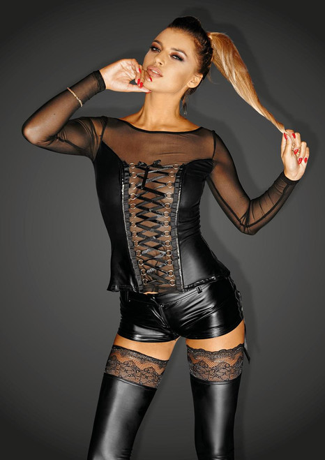 Powerwetlook corsage top with long sleeves, lacing and tull inserts NARCISSIST