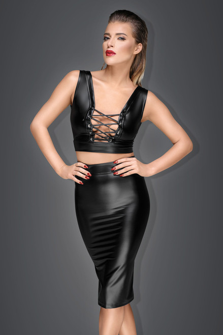 Powerwetlook pencil skirt with long zipper
