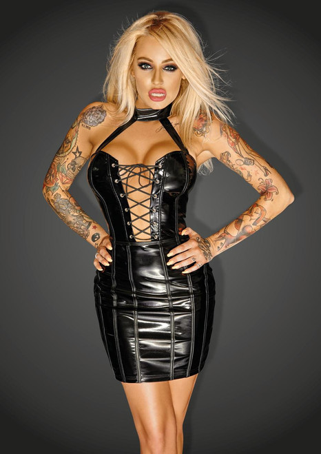 PVC minidress with eco-leather trimm and fishbones IMPERIOUS