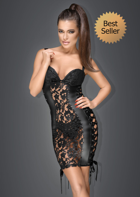 Lace and powerwetlook minidress with adjustable ribbons on side