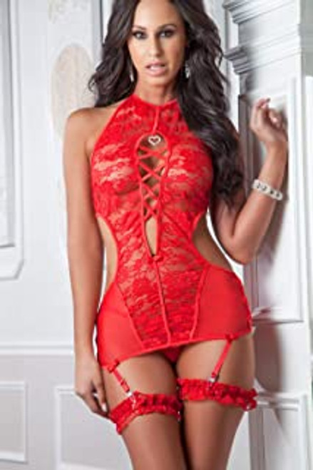 High Neck Plunging Gartered Rose Pinot Chemise