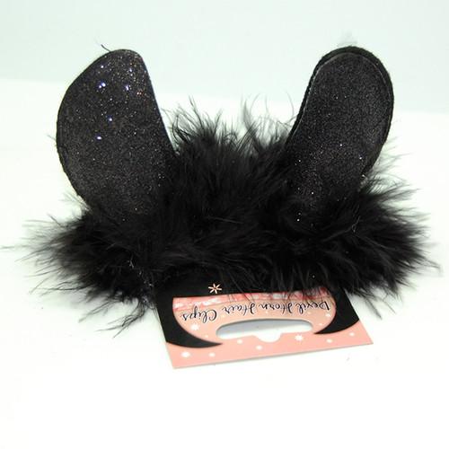 Devil Horn Clips – Black on Black Fur