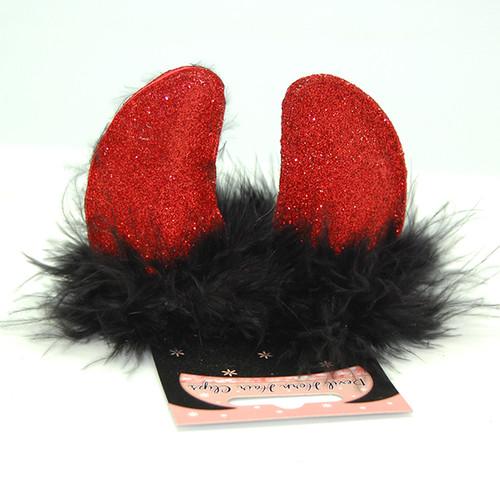Devil Horn Clips – Red on Black Fur