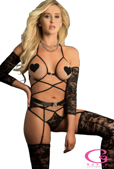 Black Web Garter Teddy