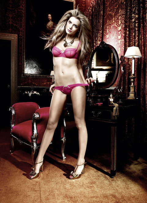 Raspberry Pink Mesh/Lace Thong w/Bow