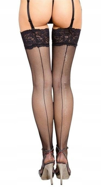 Fishnet stockings with a back seam.