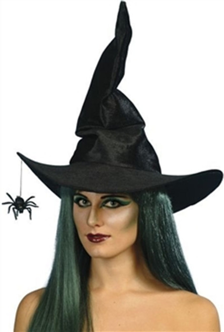 Witch Hat Black Velour With Spider, Black