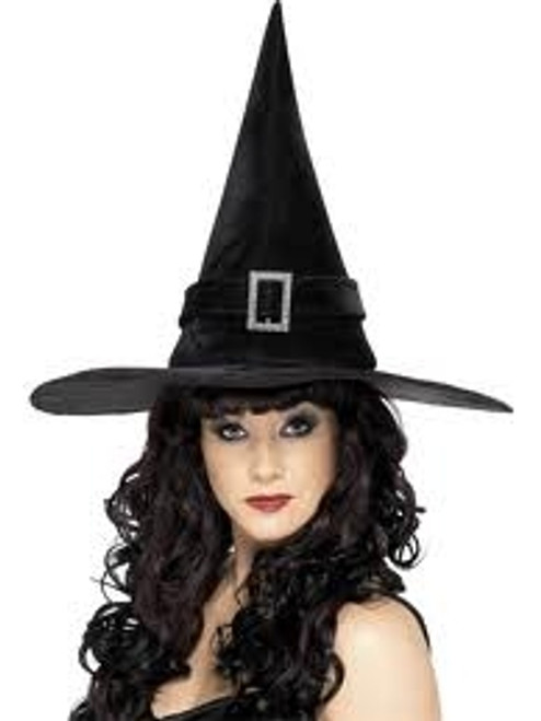 Witch Hat With Diamante Buckle, Black
