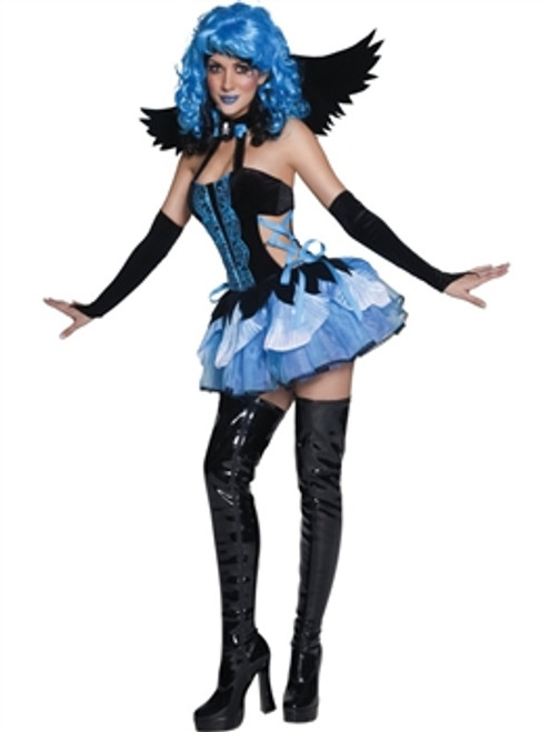 Join the pixies and elves at the bottom of the garden to create a stir with our sinister adult womens tainted garden stricken angel fancy dress costume. This delightful costume includes a cute backdress which features blue ribbon detailing and a blue skirt. Also included are black angel wings and long glovettes.