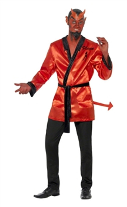 Devil Playa Costume, Red, With Top, Tail, Half Face Mask and Beard