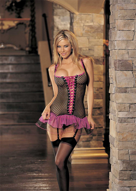 Big Hole Fishnet And Tulle Bustier