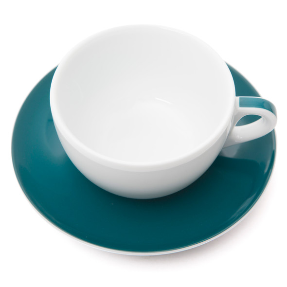 Verona Teal Striped Latte Cup and Saucer - 11.8oz