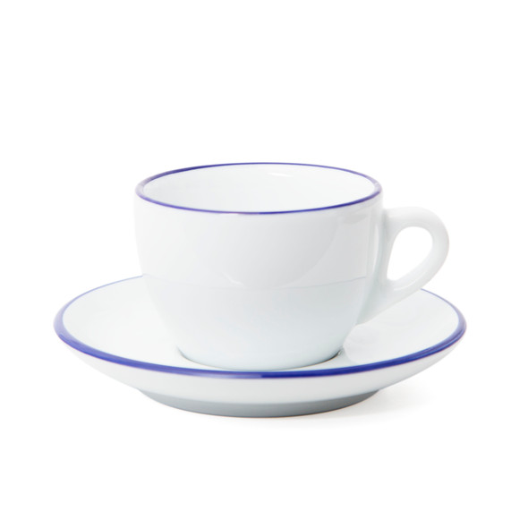 Verona Blue Rimmed Cappuccino Cup and Saucer - 6.1oz - Set of 6