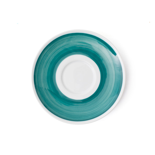 Verona Teal Hand-Painted Latte Saucer