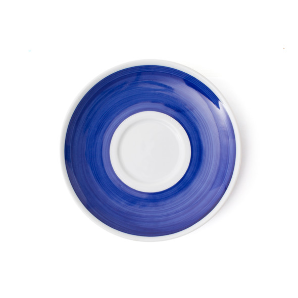 Verona Blue Hand-Painted Latte Saucer