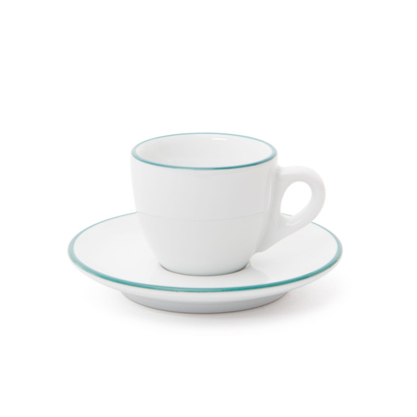 Verona Teal Rimmed Espresso Cup and Saucer - 2.5oz - Set of 6