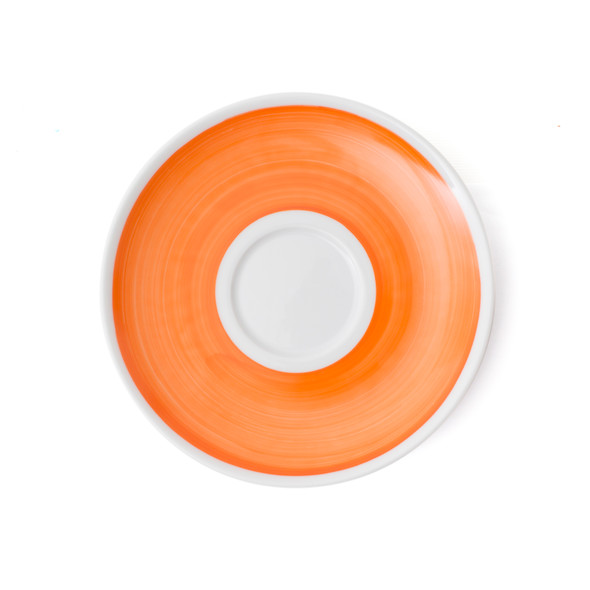 Verona Orange Hand-Painted Jumbo Latte Saucer