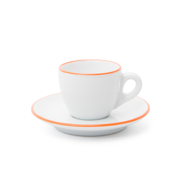 Verona Orange Rimmed Espresso Cup and Saucer - 2.5oz - Set of 6