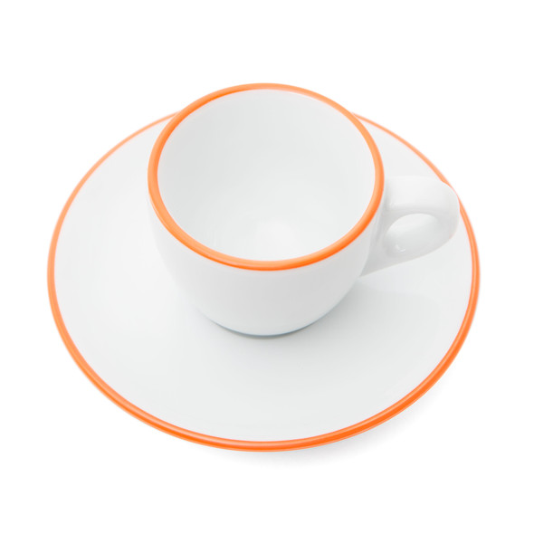 Verona Orange Rimmed Espresso Cup and Saucer - 2.5oz
