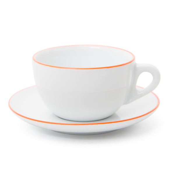 Verona Orange Rimmed Latte Cup and Saucer - 11.8oz