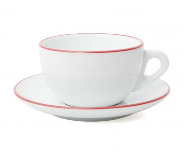 Verona Red Rimmed Latte Cup and Saucer - 11.8oz