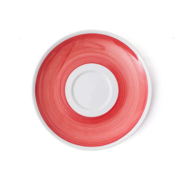 Verona Red Hand-Painted Jumbo Latte Saucer