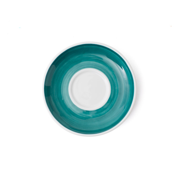 Verona Teal Hand-Painted Cappuccino Saucer