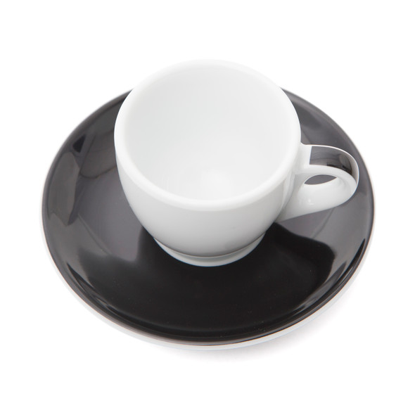 Verona Black Striped Espresso Cup and Saucer - 2.5oz - Set of 6