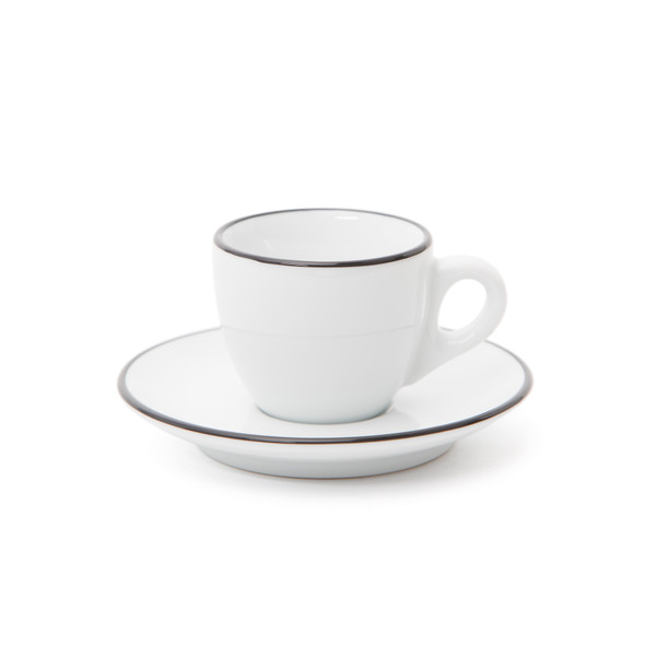 Verona Black Rimmed Espresso Cup and Saucer - 2.5oz - Set of 6