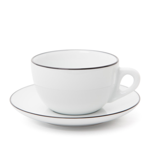 Verona Black Rimmed Latte Cup and Saucer - 11.8oz
