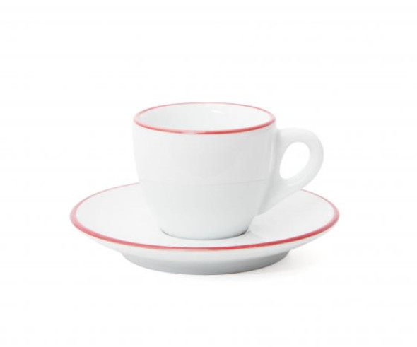 Verona Red Rimmed Espresso Cup and Saucer - 2.5oz - Set of 6