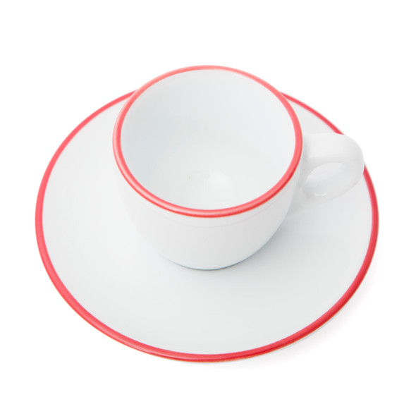 Verona Red Rimmed Espresso Cup and Saucer - 2.5oz