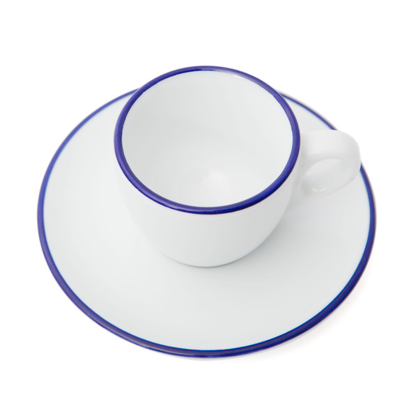 Verona Blue Rimmed Espresso Cup and Saucer - 2.5oz