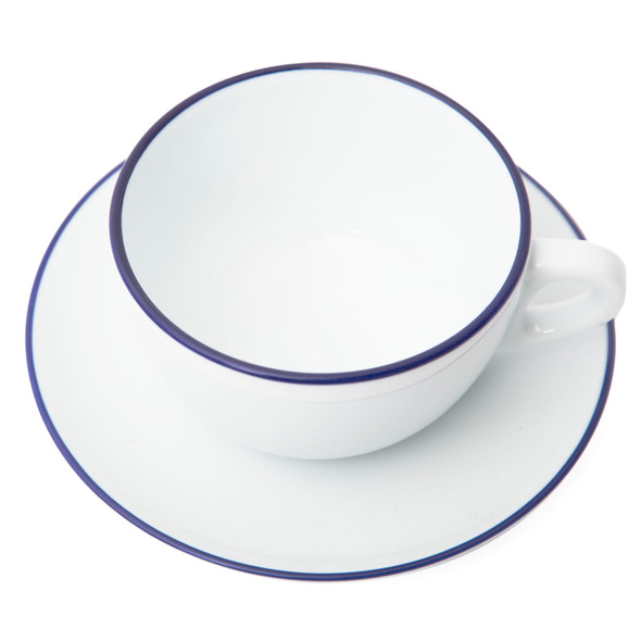 Verona Blue Rimmed Large Cappuccino Cup and Saucer - 8.8oz