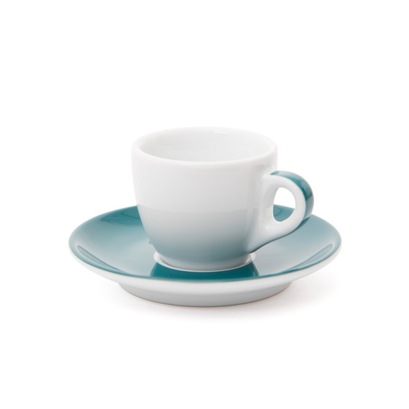 Verona Teal Striped Espresso Cup and Saucer - 2.5oz