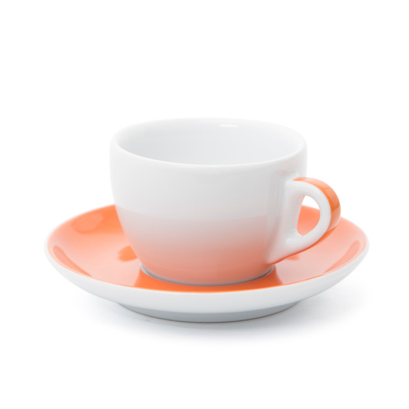 Verona Orange Striped Cappuccino Cup and Saucer - 6.1oz
