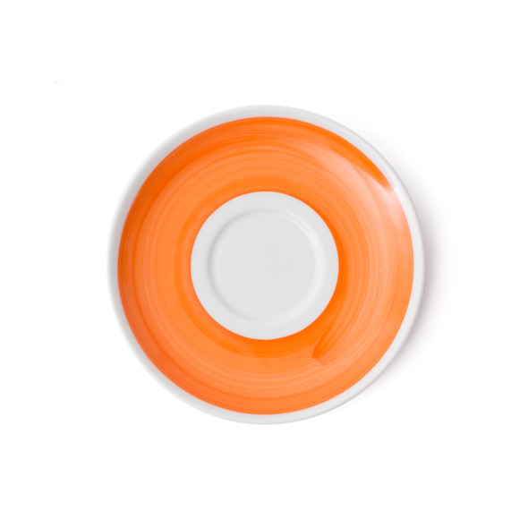 Verona Orange Hand-Painted Latte Saucer - Set of 6