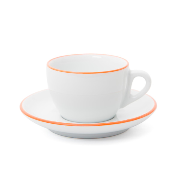 Verona Orange Rimmed Cappuccino Cup and Saucer - 6.1oz