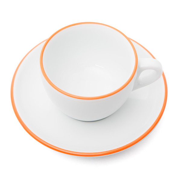 Verona Orange Rimmed Cappuccino Cup and Saucer - 6.1oz - Set of 6
