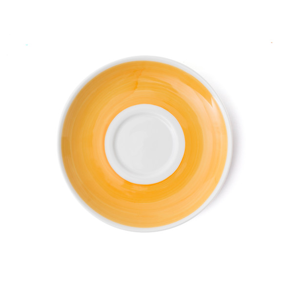 Verona Yellow Hand-Painted Latte Saucer - Set of 6