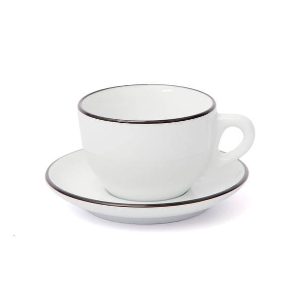 Verona Black Rimmed Large Cappuccino Cup and Saucer - 8.8oz - Set of 6