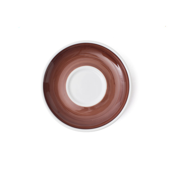 Verona Brown Hand-Painted Cappuccino Saucer - Set of 6