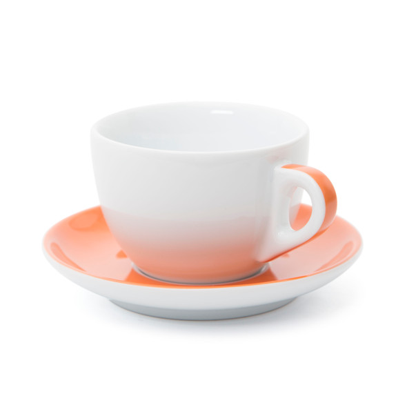 Verona Orange Striped Large Cappuccino Cup and Saucer - 8.8oz - Set of 6