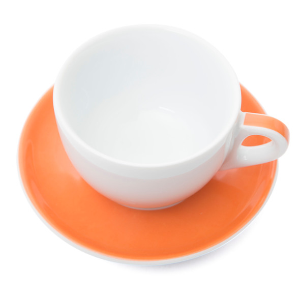 Verona Orange Striped Large Cappuccino Cup and Saucer - 8.8oz