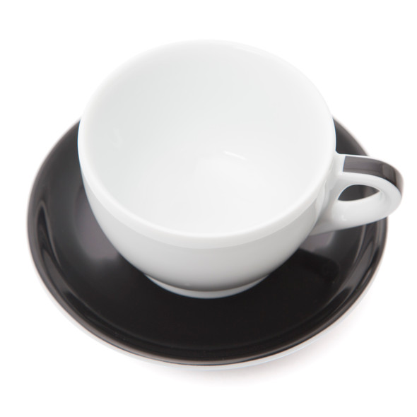 Verona Black Striped Large Cappuccino Cup and Saucer - 8.8oz - Set of 6