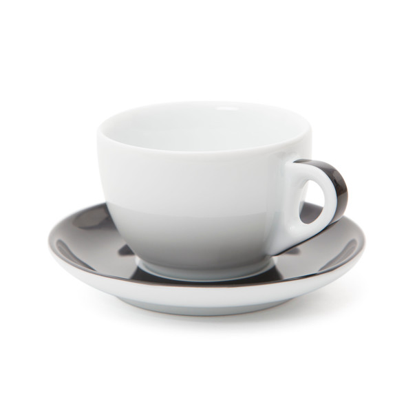Verona Black Striped Large Cappuccino Cup and Saucer - 8.8oz