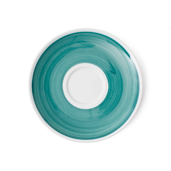 Verona Teal Hand-Painted Jumbo Latte Saucer - Set of 6